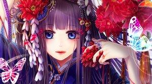 Rating: Safe Score: 87 Tags: bell black_hair blue_eyes butterfly close flowers japanese_clothes long_hair original signed soroa waifu2x User: RyuZU