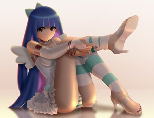 Rating: Safe Score: 205 Tags: 3d blue_hair panties panty_&_stocking_with_garterbelt siraha stocking_(character) striped_panties thighhighs underwear wings User: opai