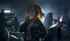 Rating: Safe Score: 47 Tags: bandaid blonde_hair blood building city flat_chest gray_eyes headband knife male night original rain short_hair sky smoking summergoat water wet User: RyuZU