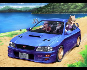 Rating: Safe Score: 78 Tags: blonde_hair blue_eyes blue_hair car cirno daiyousei dress green_hair hat kawashiro_nitori kochiya_sanae landscape long_hair moriya_suwako purple_hair red_eyes scenic short_hair sky touhou water wings yasaka_kanako yellow_eyes User: Tensa