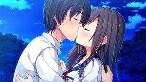 Rating: Safe Score: 121 Tags: clouds game_cg kiss male night school_uniform sorairo_innocent tree tsukigase_mahiru unasaka_ryou User: luckyluna