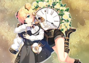 Rating: Safe Score: 32 Tags: aliasing blonde_hair boots flowers green_eyes narin original phone short_hair shorts uniform User: RyuZU