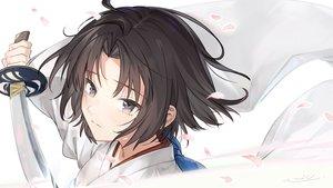 Rating: Safe Score: 51 Tags: al_mican black_eyes black_hair close fate/grand_order fate_(series) japanese_clothes kara_no_kyoukai katana kimono long_hair petals ryougi_shiki short_hair signed sword weapon User: RyuZU