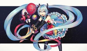 Rating: Safe Score: 40 Tags: aqua_eyes aqua_hair bow dress hatsune_miku long_hair magical_mirai_(vocaloid) tagme_(artist) twintails vocaloid User: RyuZU