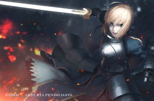 Rating: Safe Score: 30 Tags: armor blonde_hair blue_eyes dress fate_(series) fate/stay_night gloves saber sai_foubalana short_hair sword weapon User: RyuZU