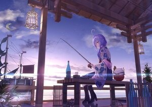 Rating: Safe Score: 55 Tags: akausuko brown_eyes clouds drink hololive japanese_clothes moon pointed_ears ponytail purple_hair reflection sky water yukihana_lamy User: BattlequeenYume