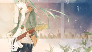 Rating: Safe Score: 82 Tags: aqua_eyes aqua_hair bubbles building guitar hatsune_miku instrument long_hair twintails vocaloid User: FormX
