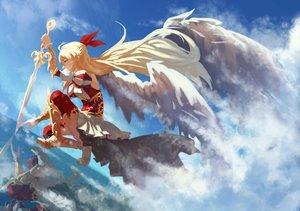 Rating: Safe Score: 145 Tags: armor blonde_hair kuroduki long_hair monster_strike skirt sky sword thighhighs weapon wings User: Flandre93