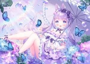 Rating: Safe Score: 115 Tags: animal_ears aqua_eyes bow bunny_ears butterfly flowers lolita_fashion long_hair omochi_monaka original purple_hair rainbow twintails umbrella water User: BattlequeenYume