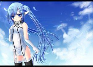 Rating: Safe Score: 159 Tags: blue_eyes blue_hair blush clouds feathers nymph sky sora_no_otoshimono usashouya User: Zolxys