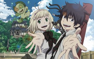Rating: Safe Score: 62 Tags: animal ao_no_exorcist black_hair blonde_hair blue_eyes bow clouds green_eyes kuro_(ao_no_exorcist) moriyama_shiemi nii_(ao_no_exorcist) okumura_rin short_hair skirt sky tie tree User: ssagwp