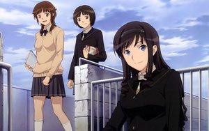 Rating: Safe Score: 55 Tags: amagami book clouds headband kneehighs morishima_haruka sakurai_rihoko school_uniform sky tachibana_miya User: meccrain