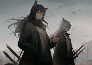 Rating: Safe Score: 94 Tags: 2girls animal_ears arknights black_hair cigarette dark huanxiang_heitu katana lappland_(arknights) long_hair orange_eyes scarf shirt smoking sword texas_(arknights) tie weapon white_hair wolfgirl User: sadodere-chan