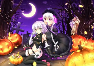 Rating: Safe Score: 38 Tags: blonde_hair bow braids candy doll dress elbow_gloves fate/apocrypha fate/extra fate/grand_order fate_(series) food gloves goth-loli green_eyes halloween hat ibaraki_douji_(fate) jack_the_ripper lolita_fashion lollipop long_hair moon night nursery_rhyme_(fate/extra) pink_eyes ponytail pumpkin short_hair sky tagme_(artist) tattoo thighhighs tree white_hair yellow_eyes User: BattlequeenYume