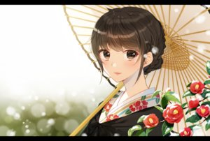 Rating: Safe Score: 57 Tags: blush braids brown_eyes brown_hair flowers hiiragi_souren japanese_clothes kimono original short_hair snow umbrella User: sadodere-chan