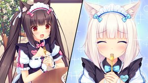 Rating: Safe Score: 139 Tags: 2girls animal_ears breasts brown_eyes brown_hair cake catgirl cat_smile chocola_(sayori) cleavage game_cg headdress leaves long_hair nekopara sayori twintails vanilla_(sayori) waitress white_hair wristwear User: humanpinka