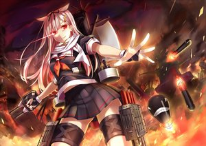 Rating: Safe Score: 119 Tags: anthropomorphism blonde_hair bow fire gloves hika_(cross-angel) kantai_collection long_hair red_eyes school_uniform skirt yuudachi_(kancolle) User: FormX