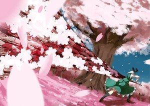 Rating: Safe Score: 32 Tags: dress flowers katana konpaku_youmu petals pink short_hair socks sword touhou tree weapon User: happygestapo