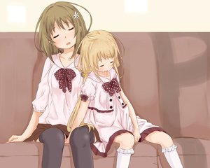 Rating: Safe Score: 44 Tags: 2girls abe_kanari futaba_anzu idolmaster idolmaster_cinderella_girls mimura_kanako sleeping thighhighs User: Wiresetc