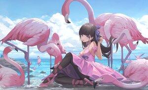 Rating: Safe Score: 198 Tags: animal bird breasts cleavage clouds dress long_hair nekojira original pantyhose water User: BattlequeenYume