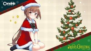 Rating: Safe Score: 40 Tags: boots brown_eyes brown_hair cape christmas dress gmo hat kyuri long_hair mikumo_conoha ponytail santa_costume santa_hat User: 蕾咪