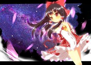 Rating: Safe Score: 54 Tags: black_hair blush bow hakurei_reimu japanese_clothes long_hair miko night red_eyes ribbons skirt sky stars touhou yuimari User: ガラス