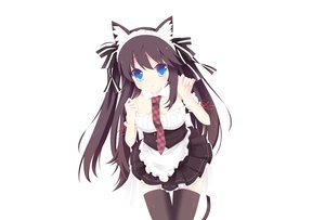 Rating: Safe Score: 50 Tags: animal_ears black_hair blue_eyes catgirl collar headband long_hair maid original photoshop tagme_(artist) tail thighhighs tie white User: luckyluna