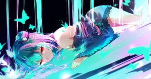 Rating: Safe Score: 90 Tags: aqua_hair butterfly cropped dress harui_(hr_x9_) hololive red_eyes signed uruha_rushia water User: BattlequeenYume