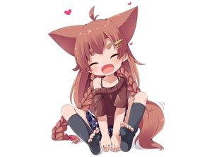 Rating: Safe Score: 51 Tags: animal_ears blush braids brown_hair fang foxgirl loli long_hair makuran_(m-kun) momiji_(marukan) original skirt tail thighhighs white User: luckyluna