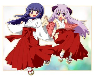 Rating: Safe Score: 46 Tags: 2girls bow furude_rika hanyuu higurashi_no_naku_koro_ni horns japanese_clothes kimono long_hair miko nopan purple_eyes purple_hair ribbons skirt socks yaya_(artist) User: noitis