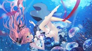 Rating: Safe Score: 70 Tags: animal aqua_eyes barefoot bubbles choker dress fish garter long_hair original pink_hair ribbons tagme_(artist) twintails underwater water wristwear User: luckyluna