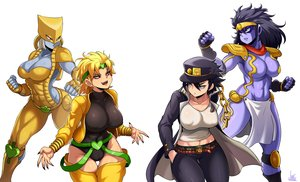 Rating: Safe Score: 25 Tags: black_hair blonde_hair breasts cameltoe chain cleavage dio_brando erect_nipples fang genderswap gloves green_eyes group hat headband jmg jojo_no_kimyou_na_bouken kuujou_joutarou leotard long_hair red_eyes short_hair signed star_platinum the_world thighhighs vampire wristwear User: otaku_emmy