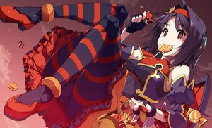 Rating: Safe Score: 57 Tags: candy dress gloves gradient halloween konno_yuuki lollipop pantyhose pointed_ears shikei sky sword_art_online wings User: BattlequeenYume