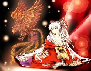 Rating: Safe Score: 71 Tags: bow breasts chaigidhiell cleavage fujiwara_no_mokou japanese_clothes kimono red_eyes touhou white_hair User: opai