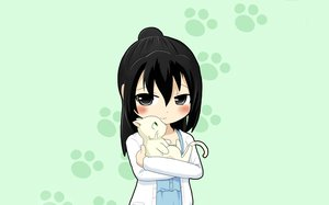 Rating: Safe Score: 42 Tags: animal black_eyes black_hair blush cat green marui_hitoha mitsudomoe User: connardman