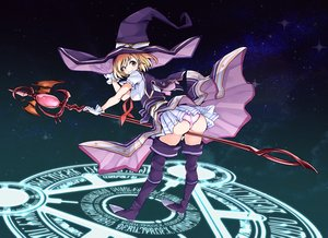 Rating: Questionable Score: 50 Tags: aliasing ass blonde_hair boots djeeta_(granblue_fantasy) gloves granblue_fantasy hat magic panties p-chan_(mitsuta52) short_hair skirt staff thighhighs underwear witch witch_hat yellow_eyes User: BattlequeenYume