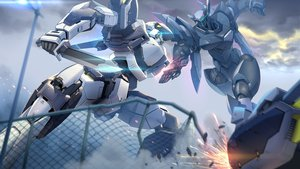 Rating: Safe Score: 46 Tags: clouds full_metal_panic knife mecha sky smoke_(flyx21) User: RyuZU