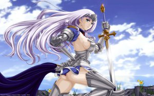 Rating: Questionable Score: 189 Tags: annelotte armor ass blue_eyes blue_hair clouds flowers grass long_hair queen's_blade sky sword underwear vector weapon User: gnarf1975
