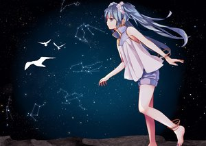 Rating: Safe Score: 63 Tags: animal barefoot bird blue_hair hatsuko hatsune_miku stars twintails vocaloid User: Dark_Person