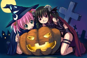 Rating: Safe Score: 32 Tags: askray demon halloween moe_(bosshi) pumpkin witch yu_(bosshi) User: Oyashiro-sama