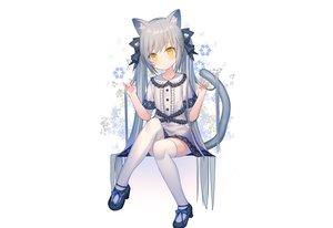 Rating: Safe Score: 85 Tags: animal_ears bow catgirl dress gray_hair loli lolita_fashion original rk_(rktorinegi) tail thighhighs twintails white yellow_eyes zettai_ryouiki User: otaku_emmy
