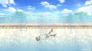 Rating: Safe Score: 21 Tags: black_hair bubbles clouds kneehighs mclelun original pool school_uniform short_hair skirt sky underwater water watermark User: RyuZU