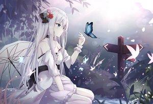 Rating: Safe Score: 144 Tags: blue_eyes butterfly dress long_hair original touhourh umbrella white_hair User: BattlequeenYume