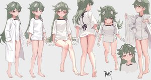 Rating: Safe Score: 54 Tags: barefoot braids fkey gloves green_hair knife long_hair original panties pink_eyes signed underwear User: otaku_emmy