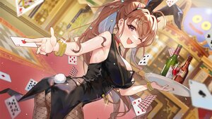 Rating: Safe Score: 78 Tags: animal_ears ass breasts brown_hair bunny_ears bunnygirl choker cleavage drink fang_qiao headband leotard long_hair ponytail red_eyes tail wink wristwear User: BattlequeenYume