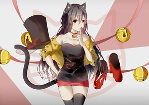 Rating: Safe Score: 52 Tags: animal_ears bell black_hair breasts catgirl cleavage collar hat long_hair red_eyes ribbons skirt tail thighhighs vocaloid vocaloid_china weitu yuezheng_ling zettai_ryouiki User: mattiasc02