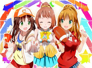 Rating: Safe Score: 95 Tags: blush brown_hair cheerleader gochou_(comedia80) green_eyes hat himekawa_yuki hino_akane_(idolmaster) idolmaster idolmaster_cinderella_girls long_hair school_uniform short_hair skirt wakabayashi_tomoka User: opai