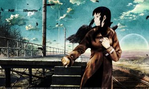 Rating: Safe Score: 29 Tags: black_hair clouds haibane_renmei kumo_no_mukou_yakusoku_no_basho long_hair parody reki scenic train watermark wings User: Kulag