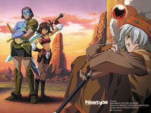 Rating: Safe Score: 28 Tags: .hack// .hack//sign armor bear_(.hack//) blue_eyes boots brown_eyes brown_hair clouds collar gloves gray_hair group mimiru short_hair skirt sky sword tattoo tsukasa weapon User: zoobezee