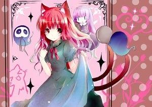 Rating: Safe Score: 55 Tags: animal_ears catgirl kaenbyou_rin long_hair multiple_tails red_eyes red_hair shichinose tail touhou zombie_fairy User: SciFi